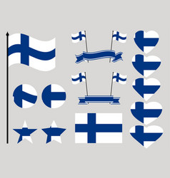 finland flag set collection of symbols heart vector image vector image