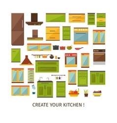 Kitchen Interior Decorative Elements Set vector image