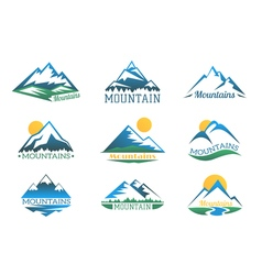 Mountains logo set Mountain peak landscape with vector image vector image