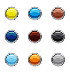 Buttons for web icons set cartoon style vector