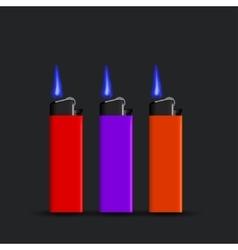 modern cigarette lighter set on black vector image