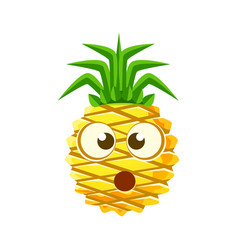 puzzled pineapple face cute cartoon emoji vector image vector image