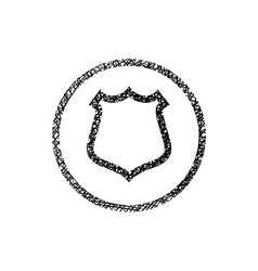 Shield simple icon with hand drawn lines texture vector image