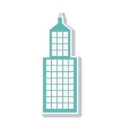 silhouette with skyscraper building in aquamarine vector image vector image