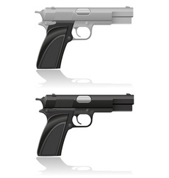 silver and black automatic pistol vector image vector image