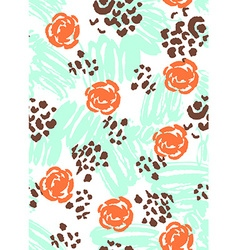Bright scribble seamless pattern with flowers vector