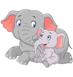 Cartoon Mother and baby elephant vector image vector image