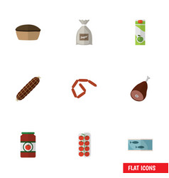Flat icon meal set of tomato meat tart and other vector