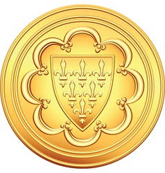 gold coin French ecu vector image