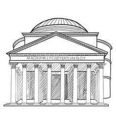 rome famous building panteon travel sign italian vector image vector image