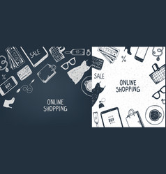 set of hand drawn shopping online objects vector image vector image