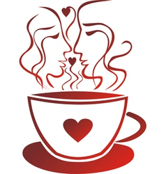Tea coffee cup valentines day pair vector image vector image