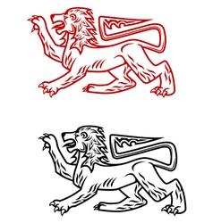 Ancient heraldic lion silhouette vector image