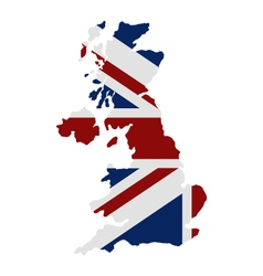 Map of great britain with flag vector