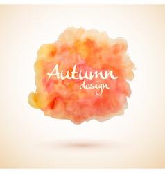 Orange watercolor splash element for autumn design vector