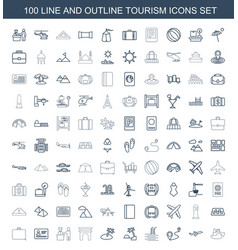 100 tourism icons vector image