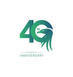 40 th anniversary bird model template design vector