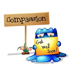 A compassionate monster holding a signage vector image