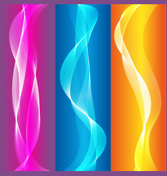 abstract smooth colorful wave set on color vector image
