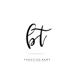 B t bt initial logo signature handwriting vector