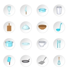 Basic dishes icons set vector