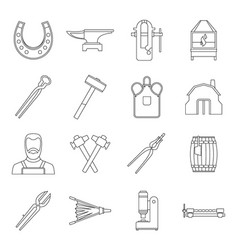 blacksmith icons set outline style vector image