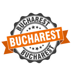 Bucharest round ribbon seal vector