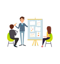 business meeting or audience with people on chairs vector image