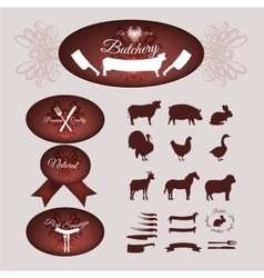 Butcher shop logotypes vector