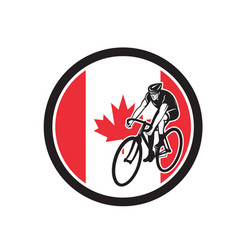 canadian cyclist cycling canada flag icon vector image