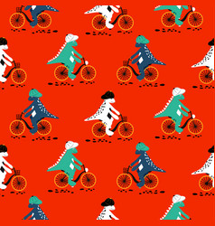 cartoon dinosaur on bikes seamless pattern dino vector image