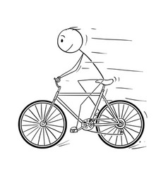 cartoon of man riding on bicycle vector image