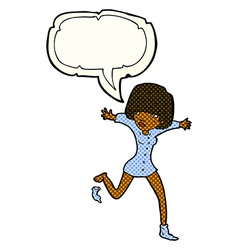 Cartoon woman kicking off sock with speech bubble vector