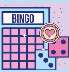 casino bingo card dices and chip game image design vector image