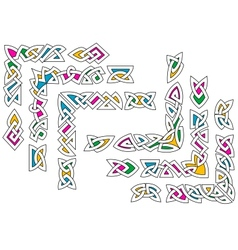 Celtic ornament patterns with colorful elements vector image