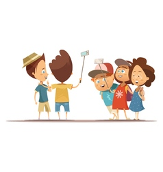 Children Making Selfie Cartoon Style vector image