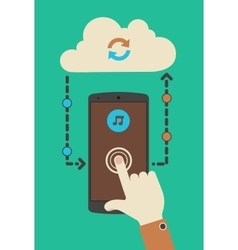 Cloud audio service synchronization concept vector