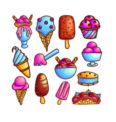 colorful set of ice-cream icons vector image