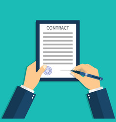 Contract document in hand sign agreement hold vector
