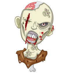 creepy zombie face on white background vector image