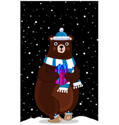 cute cartoon bear in knitted hat with gift on vector image