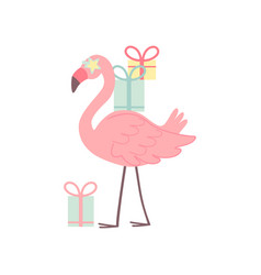 cute flamingo with gift boxes beautiful exotic vector image