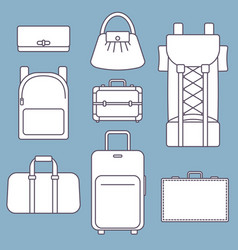 different types of bags white flat vector image