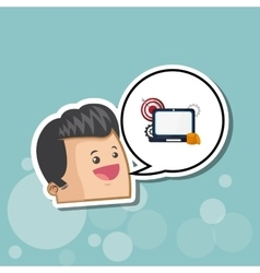 Digital marketing design laptop icon multimedia vector