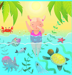 Diving jumping girl kid in tropical paradise vector