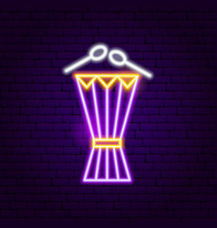 Drum neon sign vector