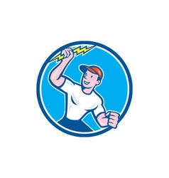 Electrician holding lightning bolt circle cartoon vector