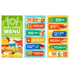 fast food snacks and drinks menu vector image