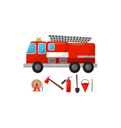 Fire truck and tools on a vector