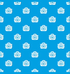 First aid kit pattern seamless blue vector